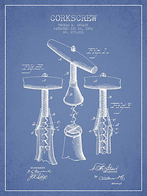 Corkscrew Patent Drawing From 1883 - Light Blue Poster by Aged Pixel