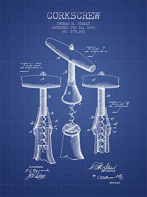 Corkscrew Patent From 1883- Blueprint Poster by Aged Pixel