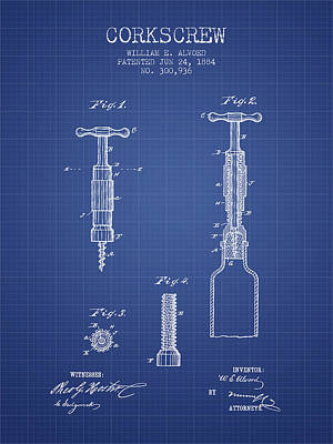 Corkscrew Patent From 1884- Blueprint Poster