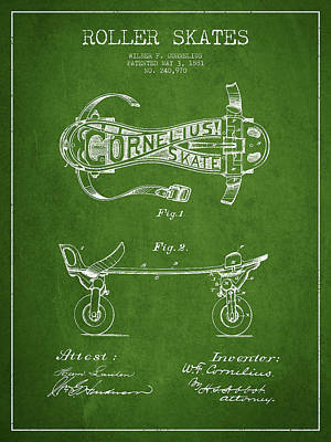 Cornelius Roller Skate Patent Drawing From 1881 - Green Poster