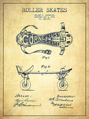 Cornelius Roller Skate Patent Drawing From 1881 - Vintage Poster