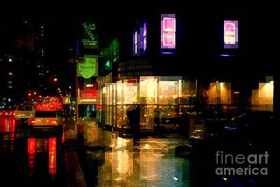 Corner In The Rain - The Lights Of New York Poster by Miriam Danar