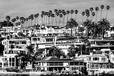 Corona Del Mar California Black And White Picture Poster by Paul Velgos