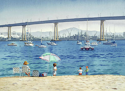 Coronado Beach And Navy Ships Poster by Mary Helmreich