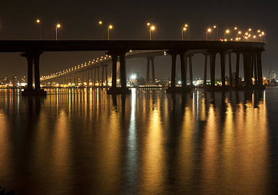 Coronado Bridge At Night Poster