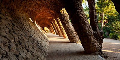 Corridor In A Park, Park Guell Poster