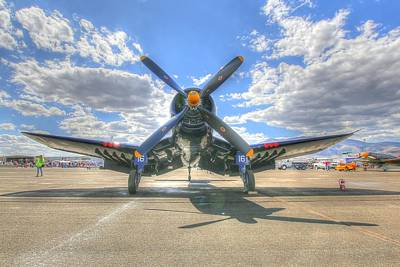 Corsair On The Flight Line At Reno Air Races Poster