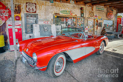 Corvette At Hackberry General Store Poster by Marianne Jensen