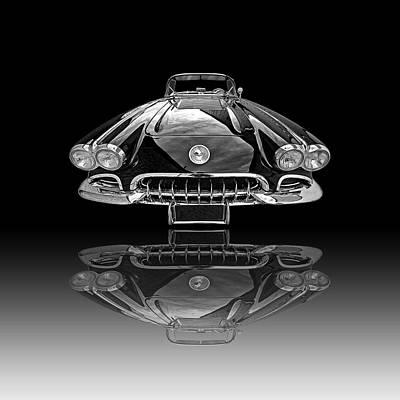 Corvette C1 Reflection On Black Poster