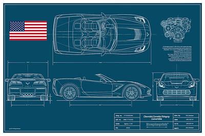 Corvette Stingray Convertible Blueplanprint Poster