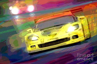 Corvette Thunders At Le Mans Poster