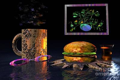 Poster featuring the digital art Cosmic Burger by Jacqueline Lloyd