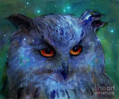 Cosmic Owl Painting Poster