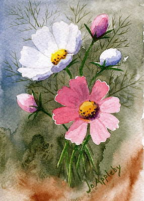 Poster featuring the painting Cosmos Blooms by Jo Appleby
