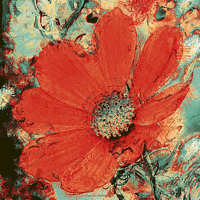 Cosmos Flower Colorized Halftone Poster
