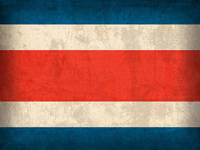 Costa Rica Flag Vintage Distressed Finish Poster by Design Turnpike