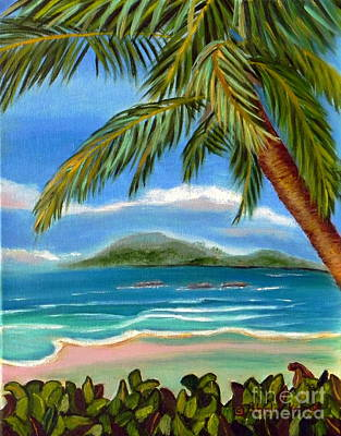 Poster featuring the painting Costa Rica Highs   Costa Rica Seascape Mountains And Palm Trees by Shelia Kempf