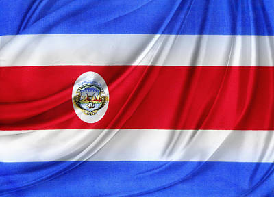 Costa Rican Flag Poster by Les Cunliffe