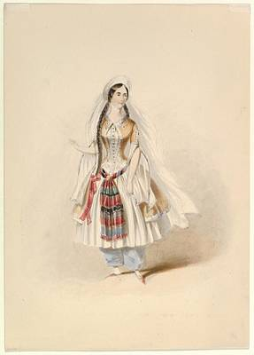 Costume Study For Blonde Poster by Johann Georg Christoph Fries