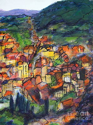 Cotignac Provence Poster by Jackie Sherwood