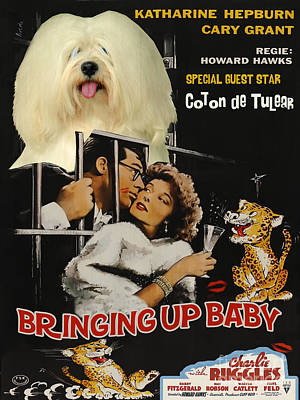 Coton De Tulear Art Canvas Print - Bringing Up Baby Movie Poster Poster