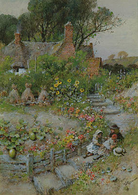 Cottage Garden In Summer Poster by William Stephen Coleman