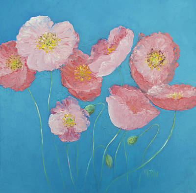 Cottage Garden Poppies Poster by Jan Matson