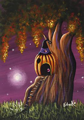 Cottage In The Woods Original Pumpkin Artwork Poster by Shawna Erback