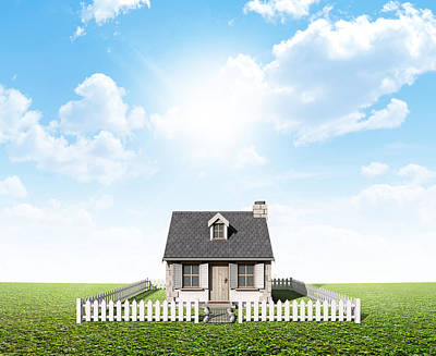 Cottage On Green Lawn Poster