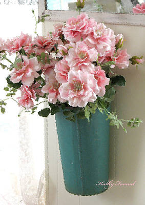 Cottage Shabby Chic Hanging Basket Pink Flowers Poster by Kathy Fornal