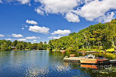 Cottages On Lake With Docks Poster