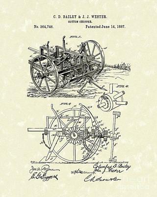 Cotton Chopper 1887 Patent Art Poster by Prior Art Design