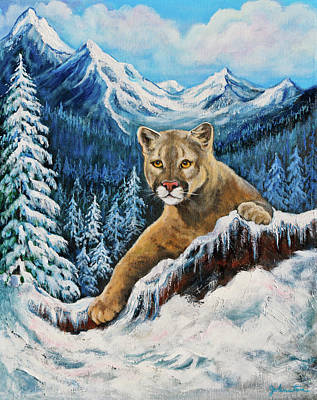 Poster featuring the painting Cougar Sedona Red Rocks  by Bob and Nadine Johnston