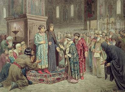 Council Calling Michael F. Romanov 1596-1645 To The Reign, 1880 Wc On Paper Poster