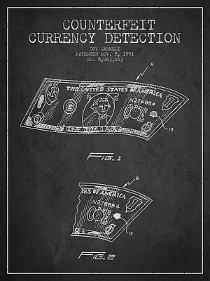 Counterfeit Currency Detection Patent From 1991 - Charcoal Poster by Aged Pixel