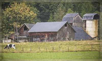 Poster featuring the painting Country Art - Rustic Old Barns With Cow In The Pasture by Jordan Blackstone