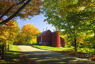 Country Barn On An Autumn Afternoon. Poster