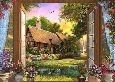Poster featuring the drawing Country Cottage View by Dominic Davison