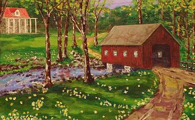 Country Covered Bridge Poster by Mike Caitham