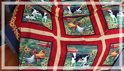 Country Cows And Roosters Quilt Poster