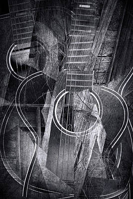 Country Cubist Guitar Poster by Randall Nyhof