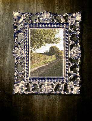 Country Lane Reflected In Mirror Poster