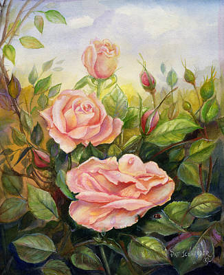 Poster featuring the painting Country Living Rose by Patricia Schneider Mitchell