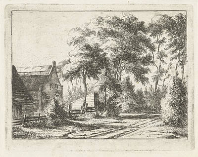 Country Road At A Farm, Print Maker Jacobus Cornelis Gaal Poster