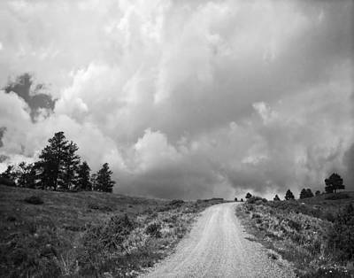 Country Road With Stormy Sky In Black And White Poster