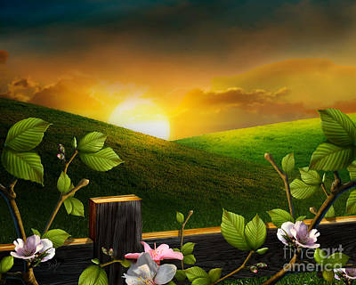 Countryside Sunset Poster by Bedros Awak