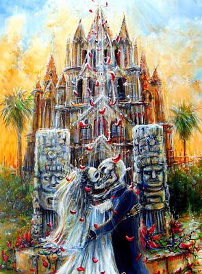 Poster featuring the painting Couple In Love by Heather Calderon