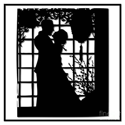 Poster featuring the digital art Couple In Love Silhouette by Rose Santuci-Sofranko