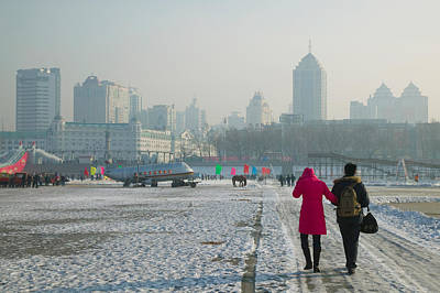Couple Walking On A Frozen River Poster by Panoramic Images