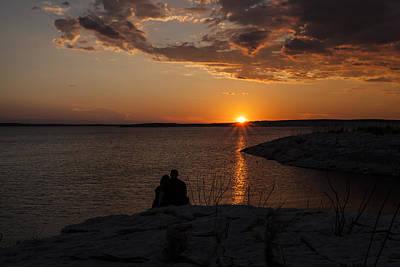 Couple's Sunset In The Desert Poster